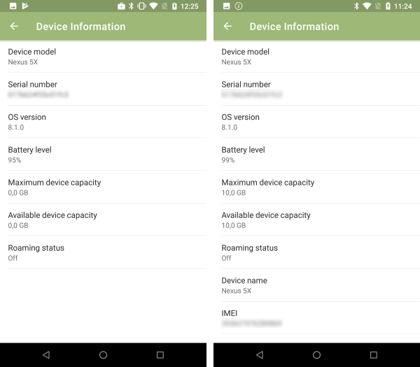 available device information (left: work profile, right: completely managed device)