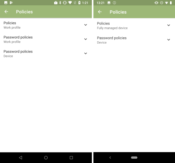 Policies for device with work profile (left), policies for fully managed device (right)