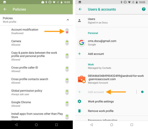 Account modification not allowed (left), no further business account can be added in the device settings (right)