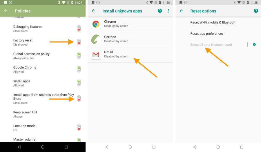 Policies in the Cortado app (left), in the settings (middle and right)