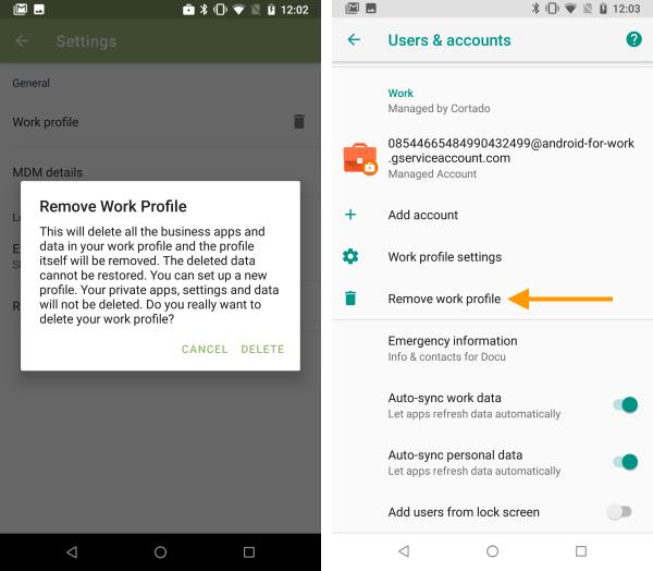 Delete work profile within the Cortado app (left), delete in settings (right)