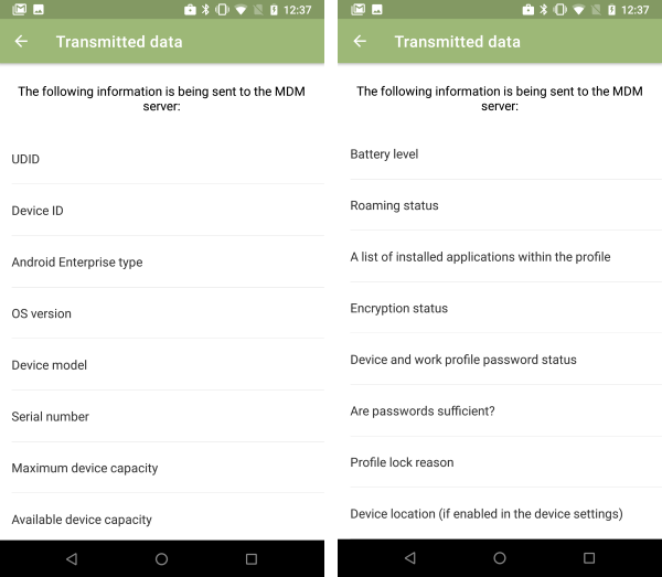 List of data that can potentially be transferred (device with work profile)