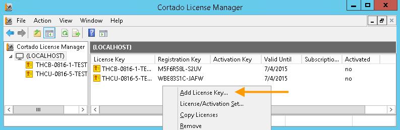 Entering a license key (example for <em>Cortado Server</em>)