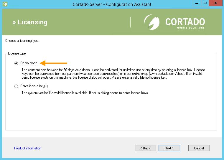 select Demo Mode (example for <em>Cortado Server</em>)
