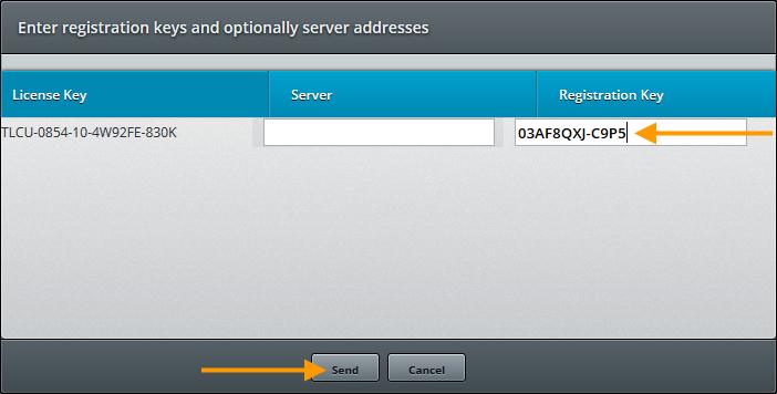 Cortado Enterprise Portal – Registrierungsschlüssel eingeben