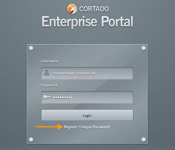 im Cortado Enterprise Portal anmelden