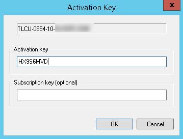 Aktivierungsschlüssel und Subscription-Schlüssel eingeben
