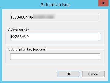 enter activation and subscription key