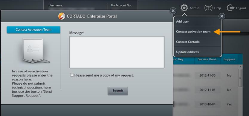 Cortado Enterprise Portal – send re-activation request