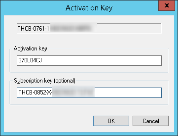 Subscription-Schlüssel zusammen mit Aktivierungsschlüssel eingeben