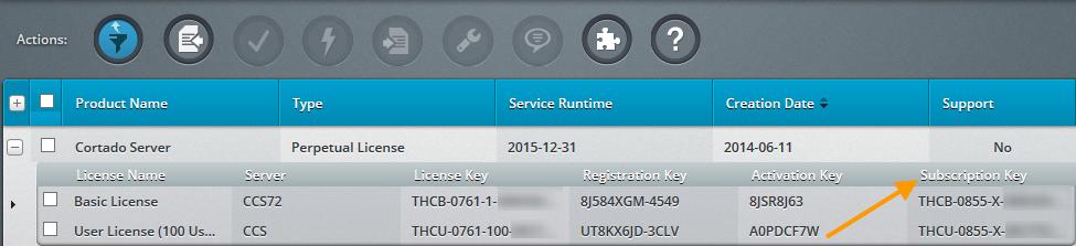 Cortado Enterprise Portal – Subscription-Schlüssel