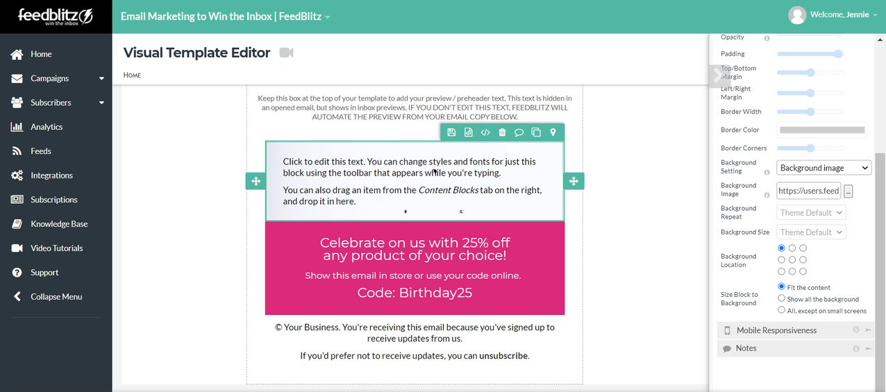 Screenshot of the Visual Mailing Editor in the FeedBlitz dashboard showing the background image uploaded to the selected content block.