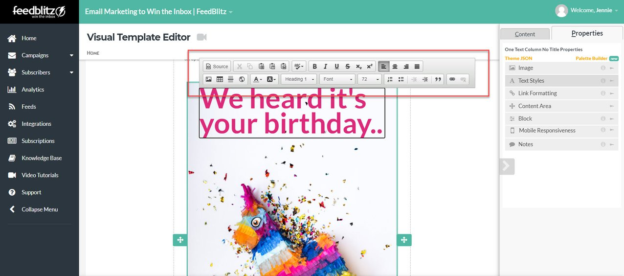 Screenshot of the Visual Mailing Editor in the FeedBlitz dashboard highlighting another option you have to editing text.