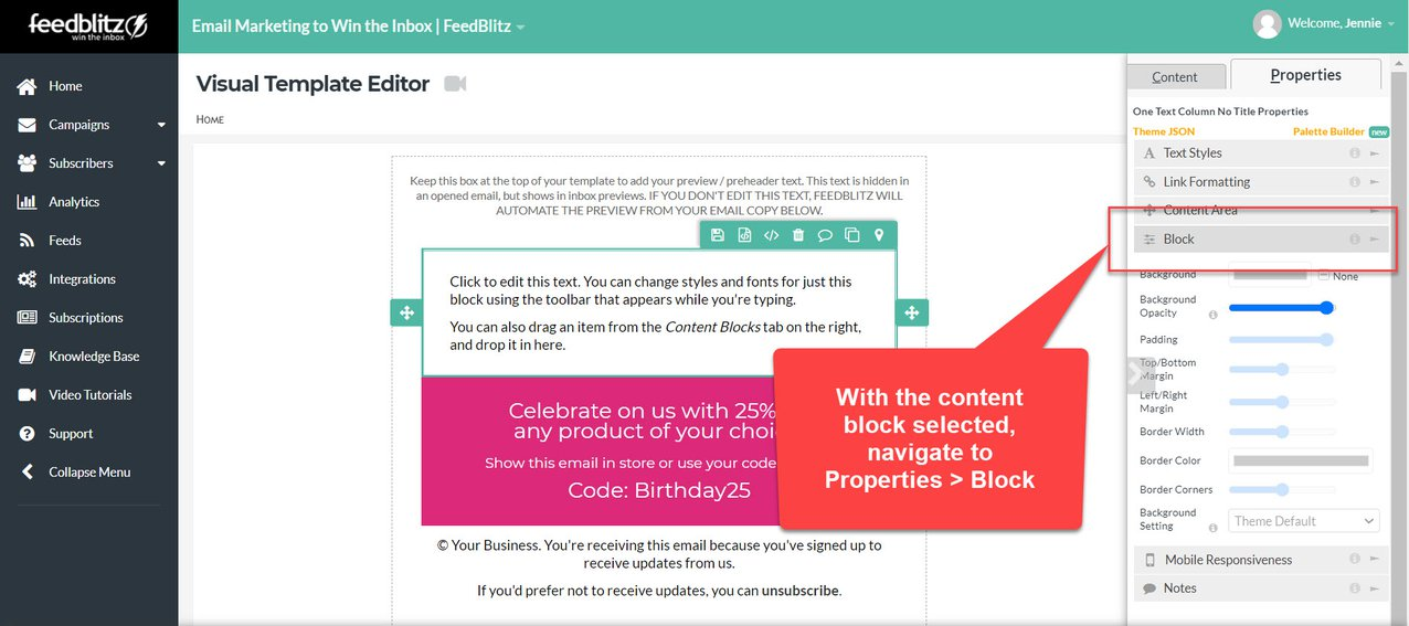 Screenshot of the Visual Mailing Editor in the FeedBlitz dashboard with the Block tab highlighted for the selected content block.