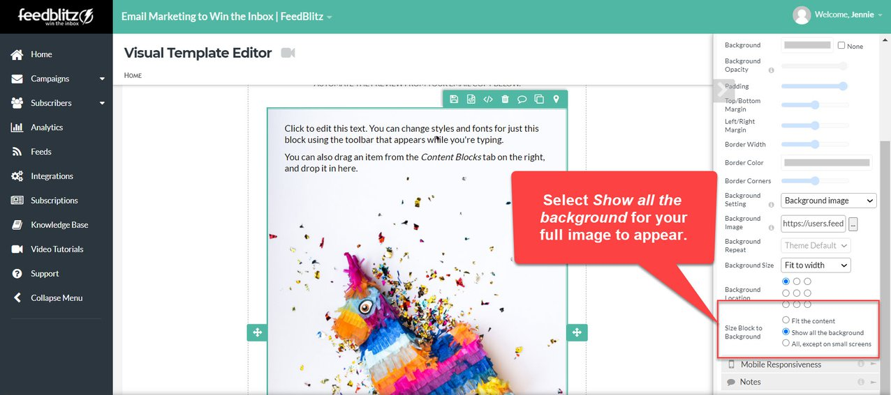 Screenshot of the Visual Mailing Editor in the FeedBlitz dashboard showing the setting adjustment for the full background image to appear.