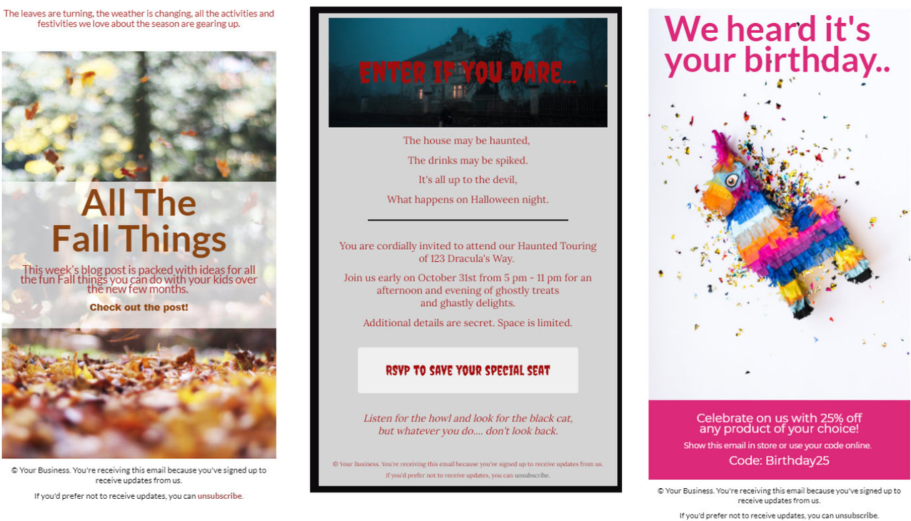 A collage of three screenshots showing different ways to use background images in emails.