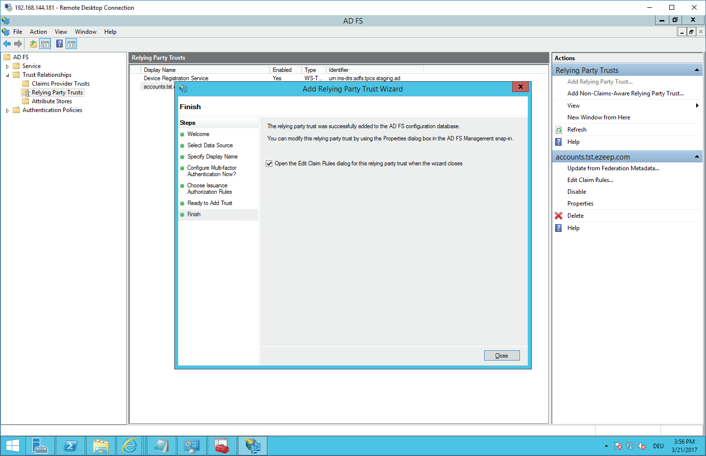 screenshot: open claim rules dialog