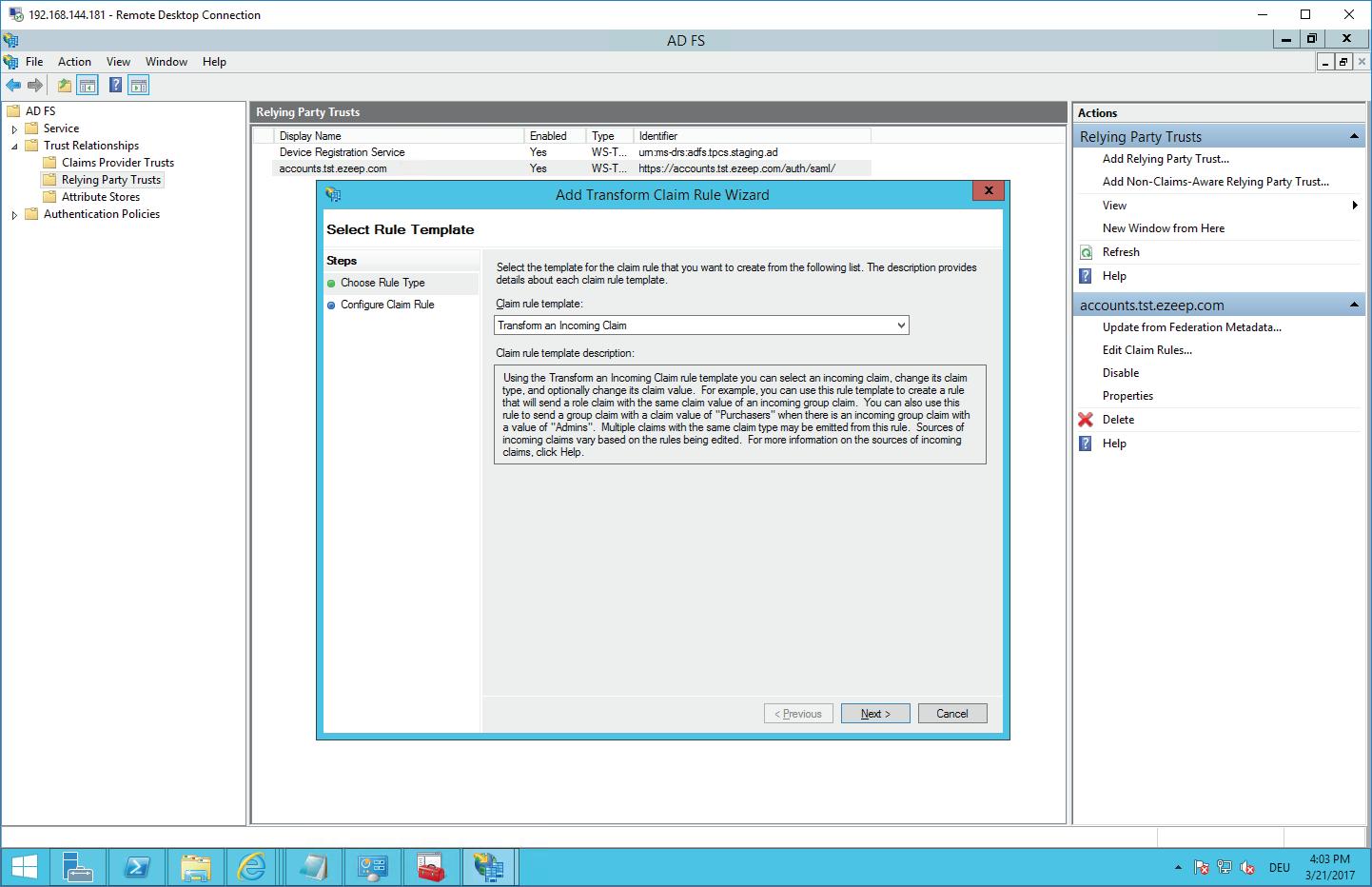 screenshot: select the claim rule template