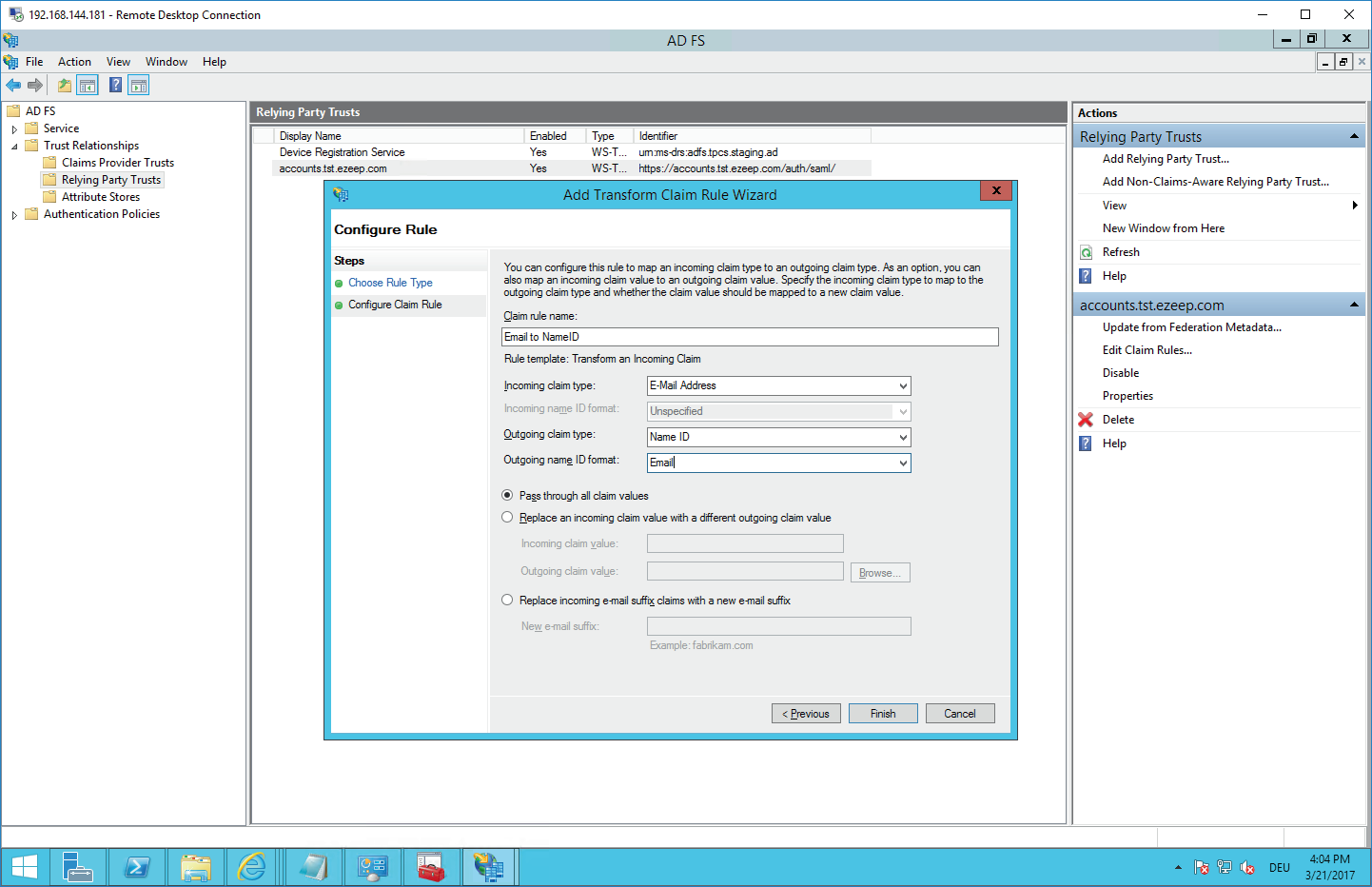 screenshot: configure transform claim rule
