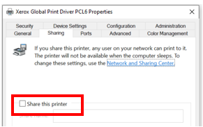 Connect to the Printer using the IP address and not the WSD port   To ensure that users are not able to print directly, turn Sharing Off