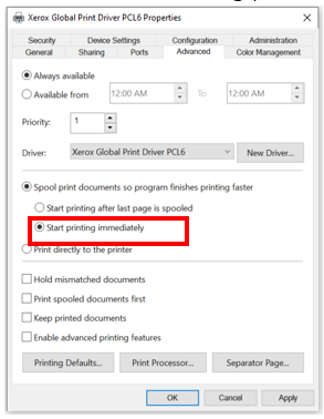 "Under Advanced Settings, select ""Start printing immediately"":"
