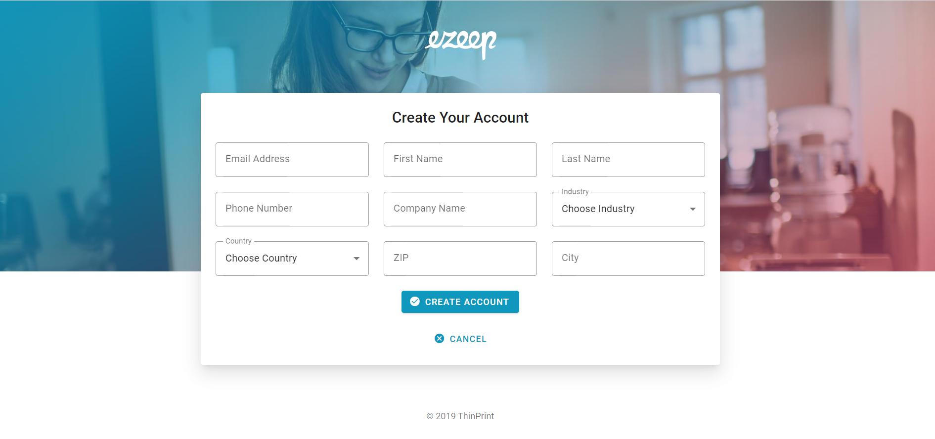 screenshot: fill out organization details