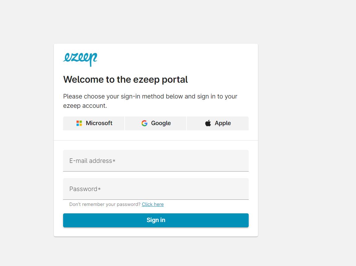 screenshot: login to ezeep