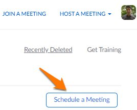 Click Schedule a meeting