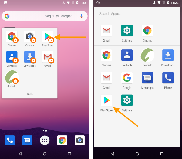 Managed Play Store on a device with work profile (left), on a fully managed device (right)