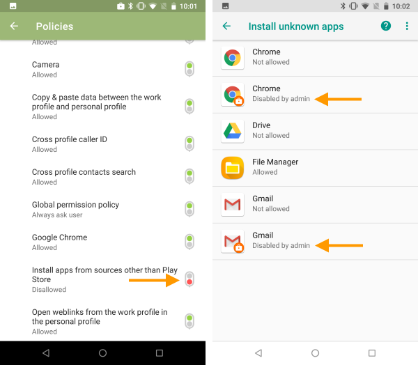 Installation of unknown apps via policy not allowed