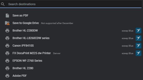Screenshot - Chrome Printer Selection