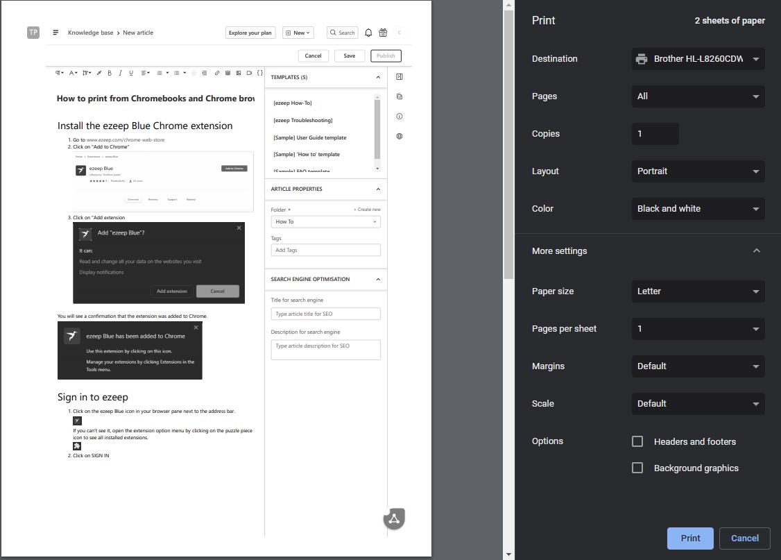 Screenshot - Chrome Print Dialog