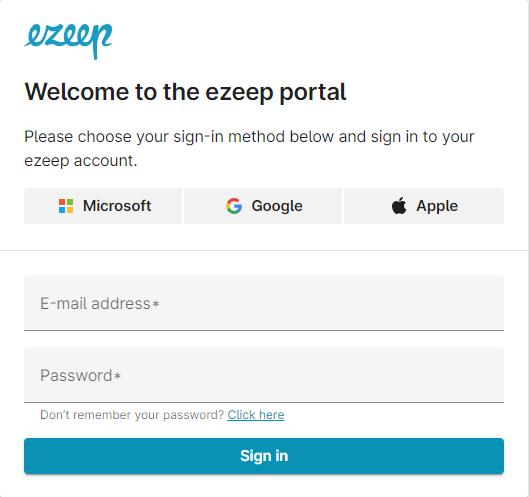 screenshot - Sign in to ezeep portal