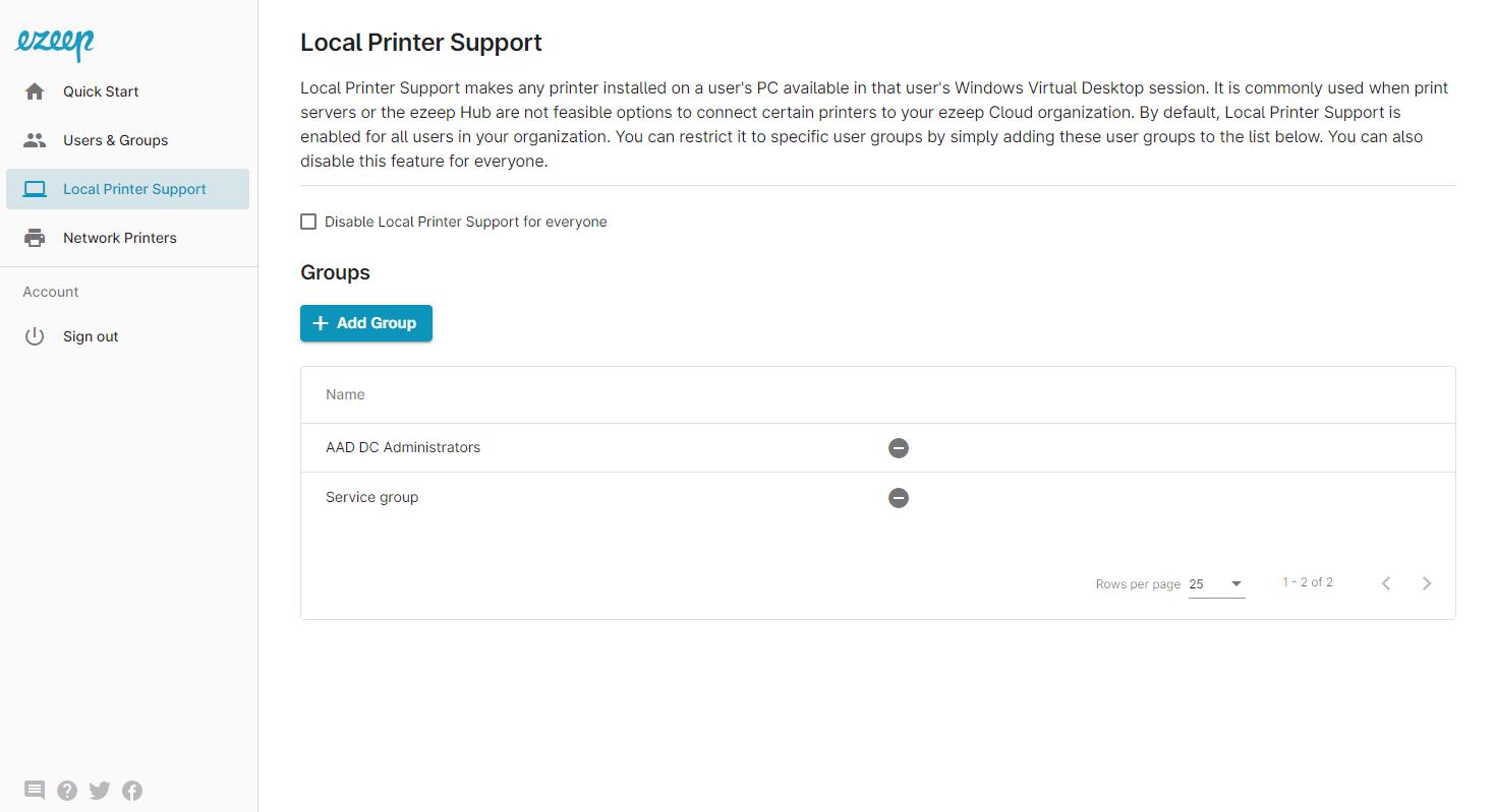 screenshot - local printer support