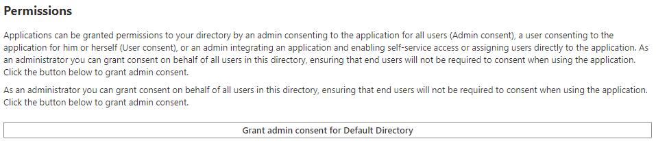 screenshot - Grant admin consent for Default Directory