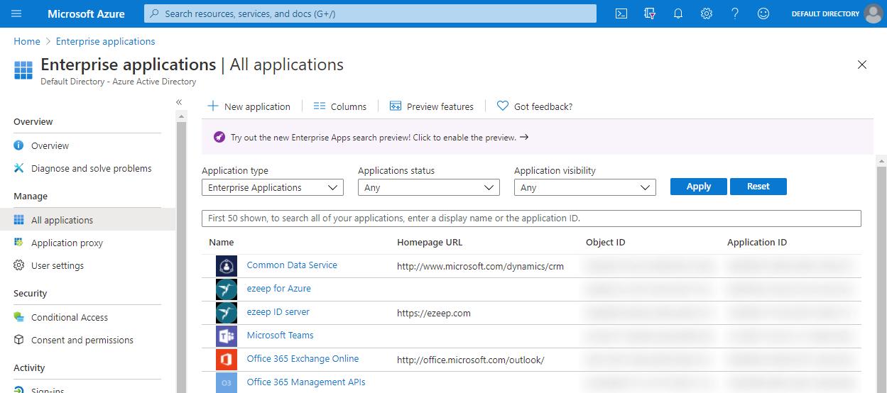 screenshot - ezeep for Azure Enterprise Applications