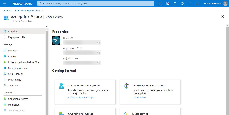 screenshot - Overview of ezeep for Azure in Enterprise Applications