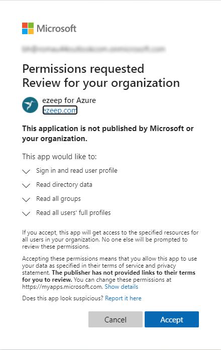 screenshot - permissions requested for ezeep Blue org