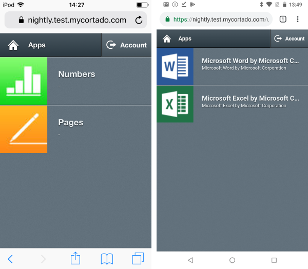 Example of stored apps (left iOS, right Android)
