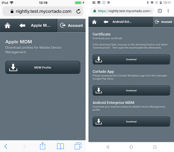 Configuring the MDM (left iOS, right Android)