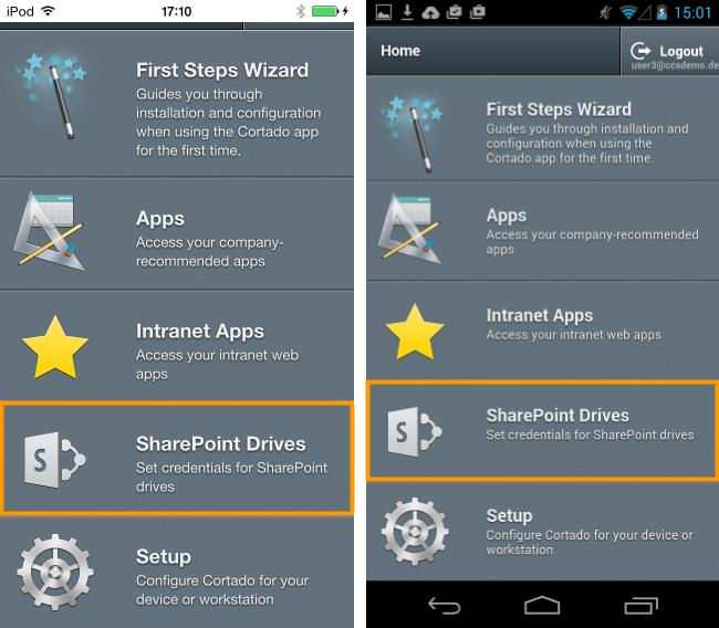 Startseite des User Self Service Portals bei iOS (links) und Android OS (rechts)