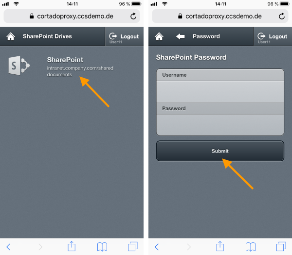 select your SharePoint and enter credentials (example for iOS)