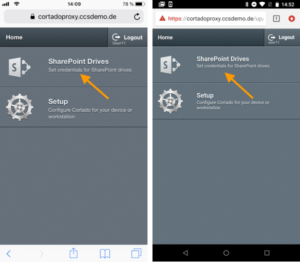 enter your credentials for SharePoint (left iOS, right Android)