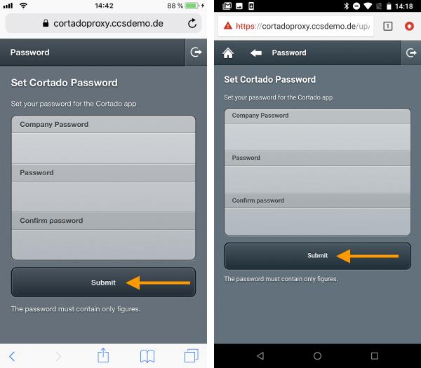 Cortado-Passwort festlegen (links iOS, rechts Android)