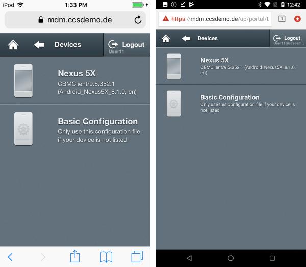 unter Devices aufgelistete Geräte bei iOS und Android OS