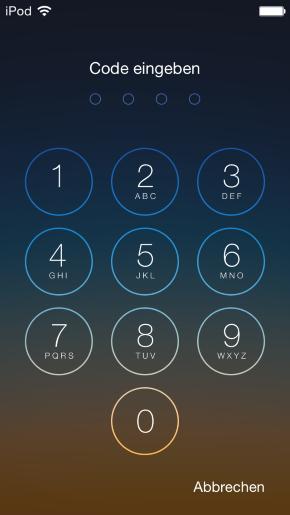 Lock Screen: Passcode zum Entsperren eingegeben (nur für iOS)