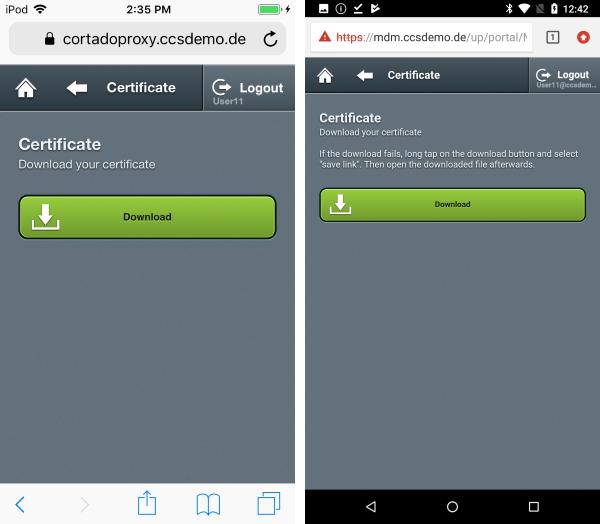 Sicherheitszertifikat (erneut) herunterladen (links iOS, rechts Android)