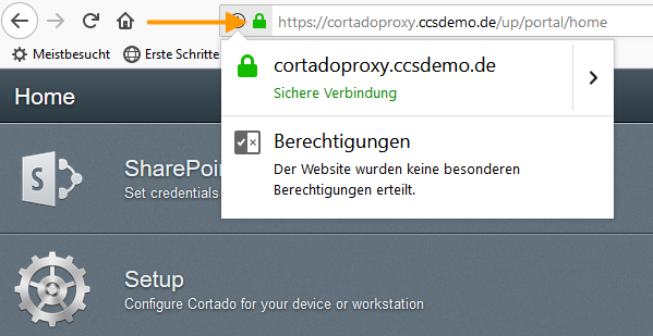 Sichere Verbindung zum User Self Service Portal
