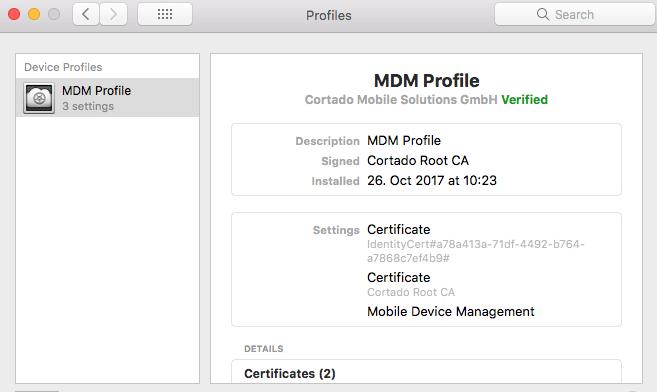 erfolgreich installiertes MDM-Profil