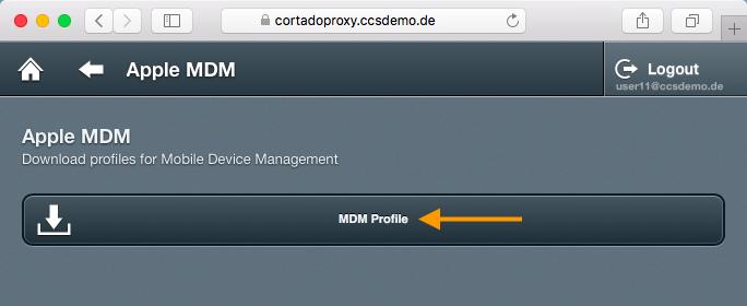 Zertifikat und MDM-Profil herunterladen